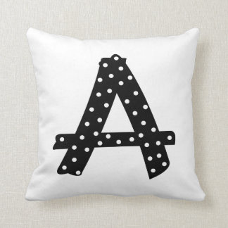 Personalized Black and White Polka Dot Letter A Throw Pillow