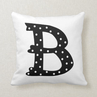 Personalized Black and White Polka Dot Letter B Throw Pillow