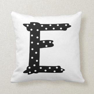 Personalized Black and White Polka Dot Letter E Throw Pillow