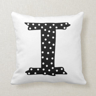 Personalized Black and White Polka Dot Letter I Throw Pillow