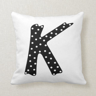 Personalized Black and White Polka Dot Letter K Throw Pillow