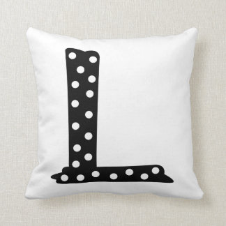 Personalized Black and White Polka Dot Letter L Throw Pillow