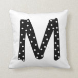 Personalized Black and White Polka Dot Letter M Pillows