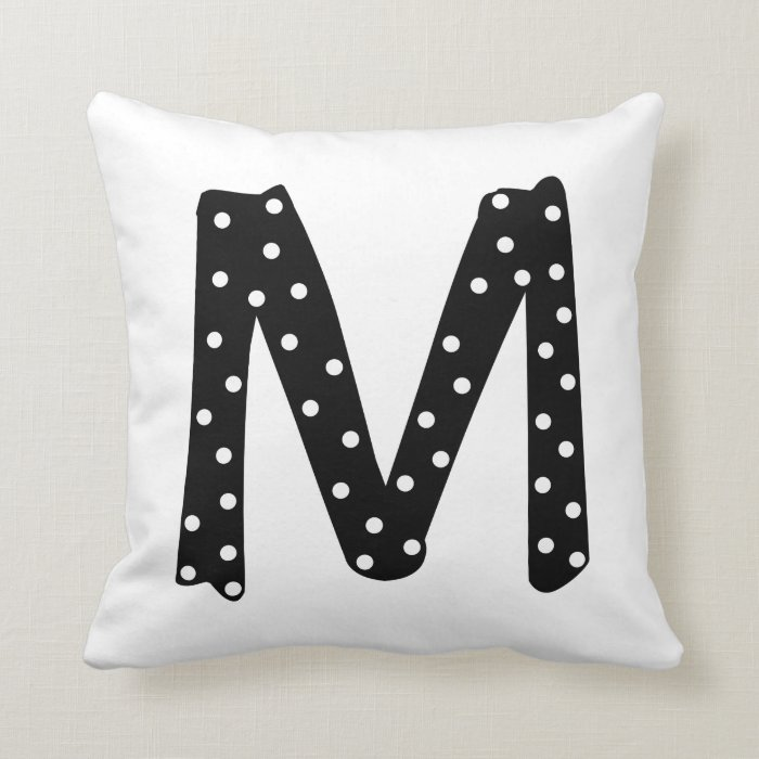 Letter M Throw Pillow : Personalized Black and White Polka Dot Letter M Throw Pillow Zazzle