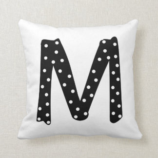 Personalized Black and White Polka Dot Letter M Throw Pillow