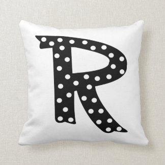 Personalized Black and White Polka Dot Letter R Throw Pillow