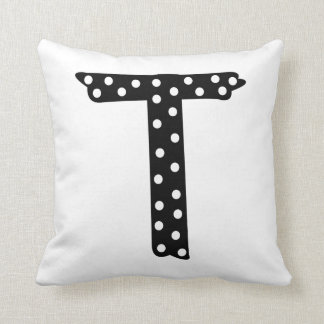 Personalized Black and White Polka Dot Letter T Throw Pillow
