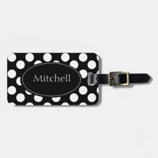 Personalized Black and White Polka Dot Luggage Tag
