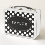 """Personalized Black and White Polka Dot Lunchbox<br><div class=""""desc"""">Put your name on this cute polka dot metal lunch box then look cute when you use it for lunch,  display or storage.</div>"""