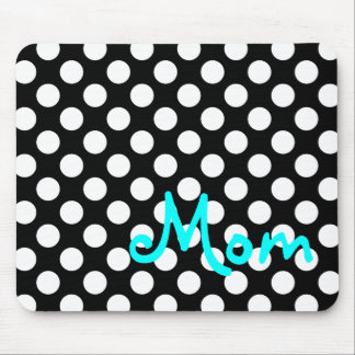 Personalized Black and White Polka Dot Mouse Pad
