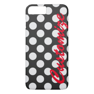 Personalized Black and White Polka Dots iPhone 8 Plus/7 Plus Case