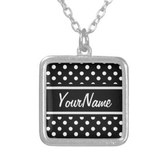 Personalized Black and White Polka Dots Pattern Square Pendant Necklace