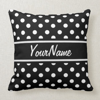 Personalized Black and White Polka Dots Pattern Pillow