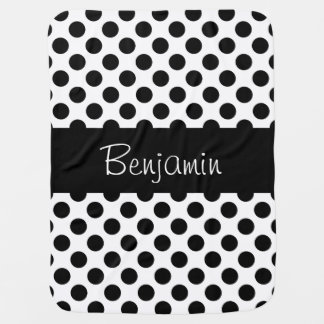 Personalized Black and White Polkadot Baby Blanket