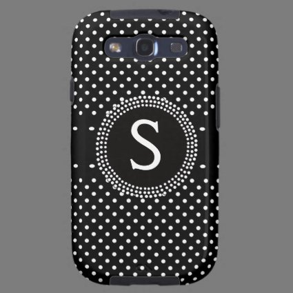 Personalized Black and White Polkadots Monogram Galaxy S3 Covers