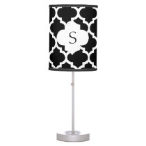 personalized black and white quatrefoil monogram table lamp