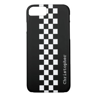 Personalized Black and White Racing Checks iPhone 7 Case