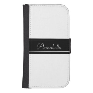 Personalized Black and White Samsung S4 Wallet Case