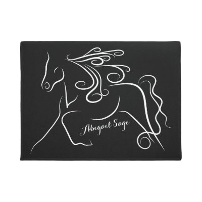 Elegant Black And White Name Monogram Door Mat | Zazzle.com