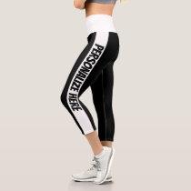 Personalized Black And White Striped Capri Leggings