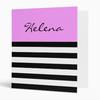 Personalized Black and White Stripes,Pink Binder