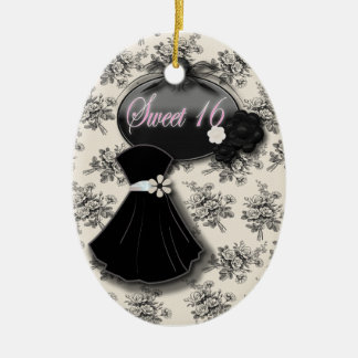 Personalized Black and White Sweet 16 Ornament