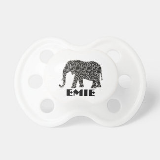 Personalized Black and White Swirl Elephant Pacifier