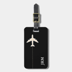 Personalized Black And White Travel Airplane Bag Tag at Zazzle