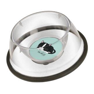Personalized Black and White Tuxedo Cat Bowl