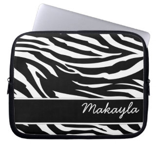 Personalized Black and white Zebra print Computer Sleeve