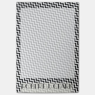 Personalized BLACK AND WHITE ZIG ZAG Border Post-it® Notes