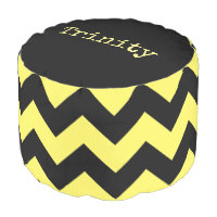 Personalized Black and Yellow Chevron Print Pouf
