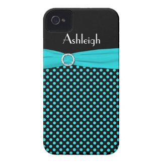 Personalized Black, Aqua Polka Dot iPhone 4 Case
