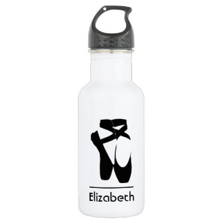 Personalized Black Ballet Shoes En Pointe Stainless Steel Water Bottle
