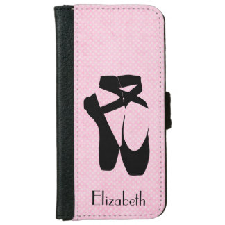 Personalized Black Ballet Shoes En Pointe Wallet Phone Case For iPhone 6/6s