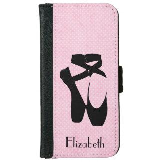 Personalized Black Ballet Shoes En Pointe Wallet Phone Case For iPhone 6/6s