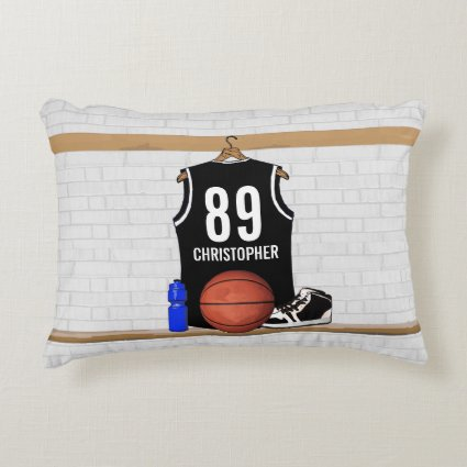Personalized Black Basketball Jersey Accent Pillow