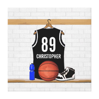 Personalized Black Basketball Jersey Stretched Canvas Print