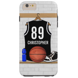 Personalized Black Basketball Jersey Tough iPhone 6 Plus Case