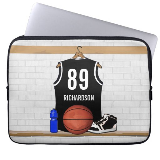 Personalized Black Basketball Jersey Laptop Sleeves