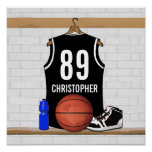 Personalized Black Basketball Jersey Poster