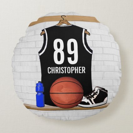 Personalized Black Basketball Jersey Round Pillow
