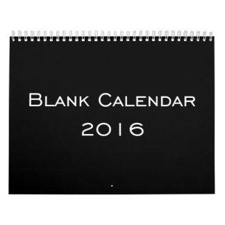 Personalized Black Blank Calendar 2016