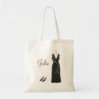 Personalized Black Bridesmaid Tote Canvas Bags