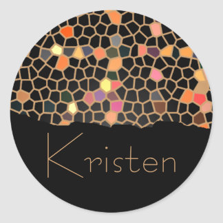 Personalized Black Broken Stained Glass Stickers