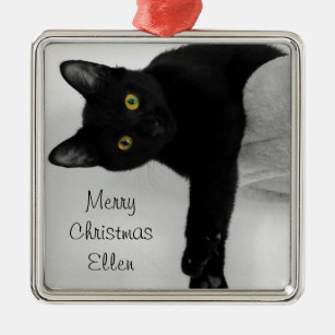 personalized black cat christmas metal ornament - Black Cat Christmas Ornament