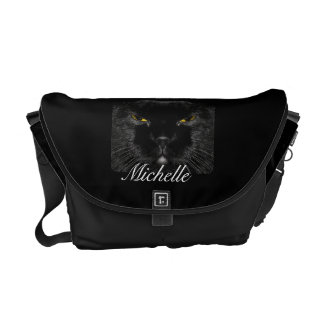 Personalized Black Cat Face Messenger Bag