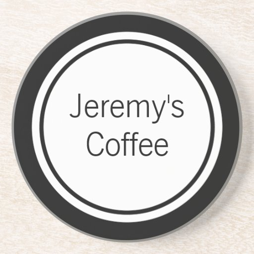 Personalized Black Circles Coaster