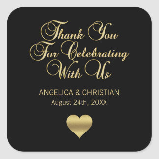 Personalized Black Color Gold Thank You Wedding Square Sticker