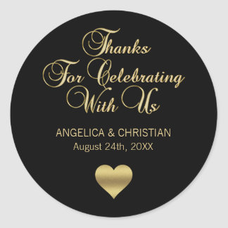 Personalized Black Color Gold Thanks Wedding Classic Round Sticker